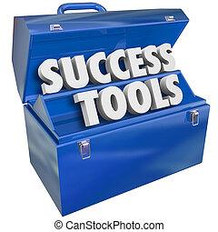 éxito, habilidades, metas, caja de herramientas, herramientas, realizando