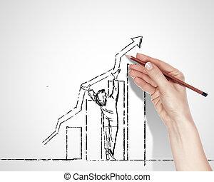 éxito, sobre, dibujo, empresa / negocio