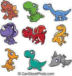 Ícono de dinosaurio de dibujos animados