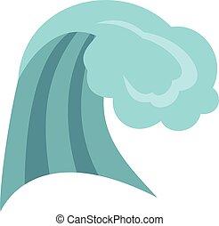 Ícono de las olas del océano, estilo de dibujos animados