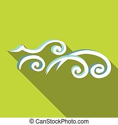 Ícono de las olas del océano, estilo plano