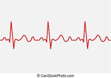 Ícono de latido. Rastro patológico ECG