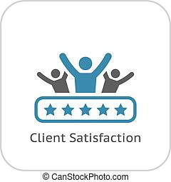 Ícono de satisfacción del cliente. Diseño plano.