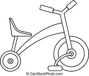Ícono de triciclo infantil, estilo de esquema