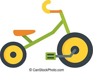 Ícono de triciclo infantil, estilo plano