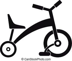Ícono de triciclo infantil, estilo simple