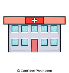 Ícono del hospital, estilo de dibujos animados