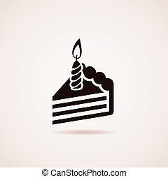 Ícono Vector de pastel de cumpleaños rebanado con vela encendida