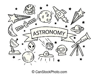 Íconos de astronomía establecidos. Ilustración de dibujos a mano.