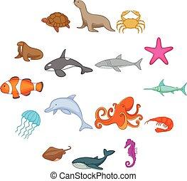Íconos de habitantes del océano, estilo de dibujos animados