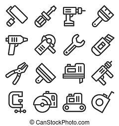 Íconos de herramientas listos. Vector