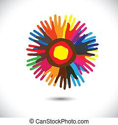íconos de mano coloridos como pétalos de flor: concepto comunitario feliz. Esta ilustración gráfica del vector representa a la gente unida, a la comunidad, a la gente ayudando, a la hermandad universal, etc