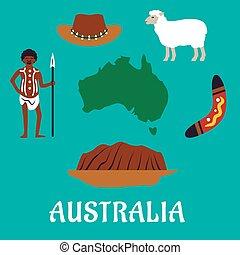 Íconos de viaje conceptual australianos y puntos de referencia
