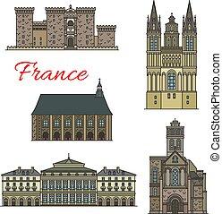 Íconos de viajes franceses con vistas turísticas