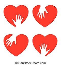 Íconos del corazón con mano cariñosa