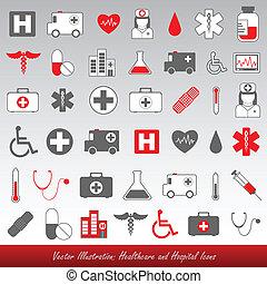 íconos hospitalarios y sanitarios