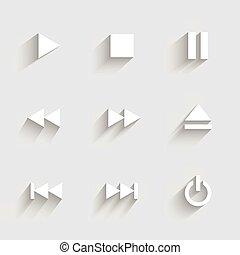 Íconos Multimedia. Diseño plano