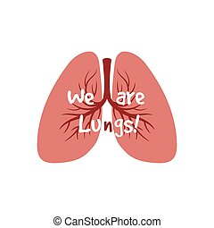 Órganos internos humanos, vector pulmonar aislado en el fondo blanco