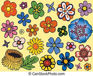 único, flores, vario