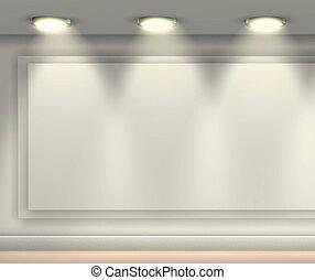 -3d, brillantemente, rende, espacio, proyectores, lit, pared en blanco, copia