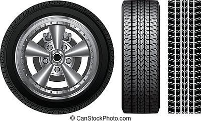 -, aleación, neumático, borde, rueda