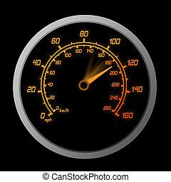 -, alto, exceso de velocidad, línea, rojo