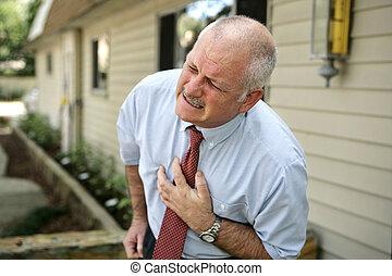 -, ataque cardíaco, hombre, maduro