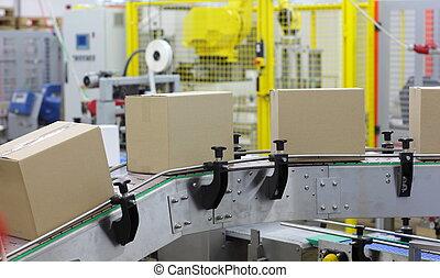 -, automatización, cinturón, cajas, transportador