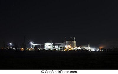 -, azúcar, fábrica, producción, químico, noche, facilidad