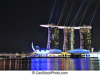 -, bahía, maravilla, hotel, feb, 26:, lleno, sudeste, arenas, puerto deportivo, asia, espectáculo, más grande, luz, febrero, agua, exposición, 26, singapur, singapore.