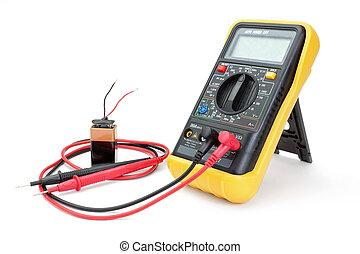 -, battery., aparato, amperímetro, eléctrico, medida, multímetro