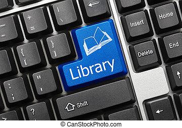 -, biblioteca, key), teclado, conceptual, (blue