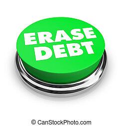 -, botón, borrar, verde, deuda
