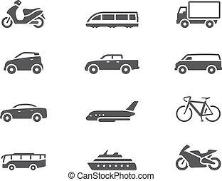-, bw, transporte, iconos
