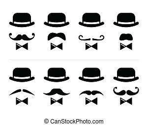 -, caballero, bigote, hombre, icono