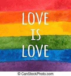 -, card., amor, rainbow., flag., slogan., orgullo, vector, acuarela, pintado, lgbt, mano, día, ilustración, tolerancia