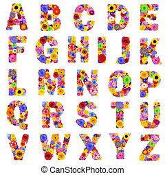 -, cartas, floral, z, aislado, blanco, alfabeto, lleno