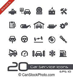 --, coche, fundamentos, servicio, iconos