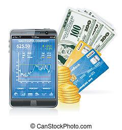 -, concepto financiero, marca, dinero, internet