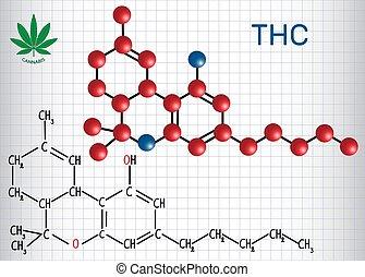 -, constituent, papel, model., fórmula, cannabis., hoja, estructural, jaula, principal, químico, (thc), psychoactive, molécula, tetrahydrocannabinol