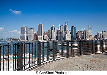 -, contorno, nuevo, nyc, york, manhattan