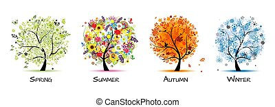-, cuatro, arte, otoño, hermoso, árbol, primavera, diseño, winter., estaciones, verano, su