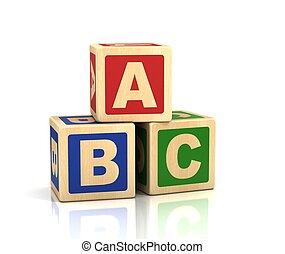 -, cubos, abc, alfabeto, concepto