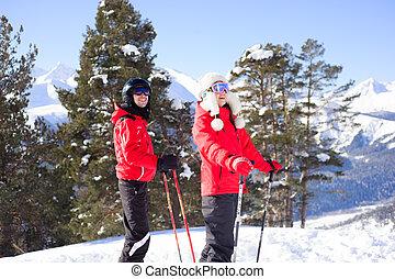 -, feliz, esquí, esquí, invierno, resort., familia