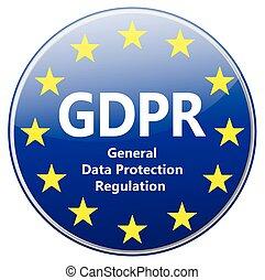 -, general, gdpr, protección, eu, señal, estrellas, regulation., datos