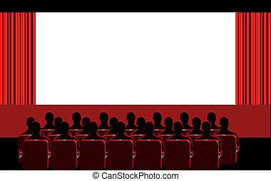 -, habitación, rojo, cine