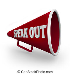 -, hablar, megáfono, rojo, afuera