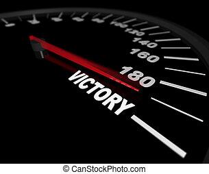 -, hacia, velocímetro, victoria, exceso de velocidad