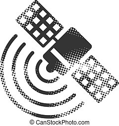 -, halftone, satélite, icono, receptor