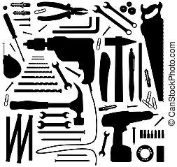 -, herramienta, silueta, ilustración, diiy